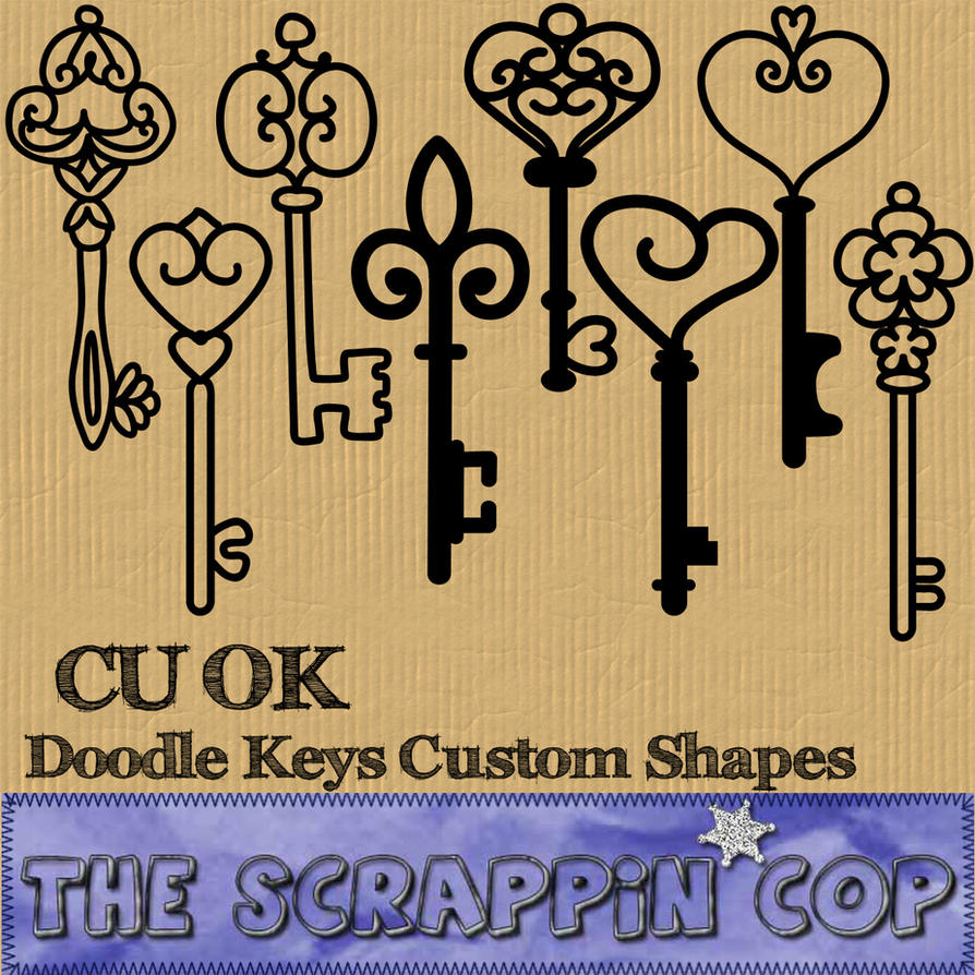 Doodled Keys Custom Shapes by debh945