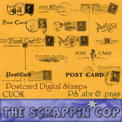 Vintage Postcard Backs Photoshop Brush Set by debh945