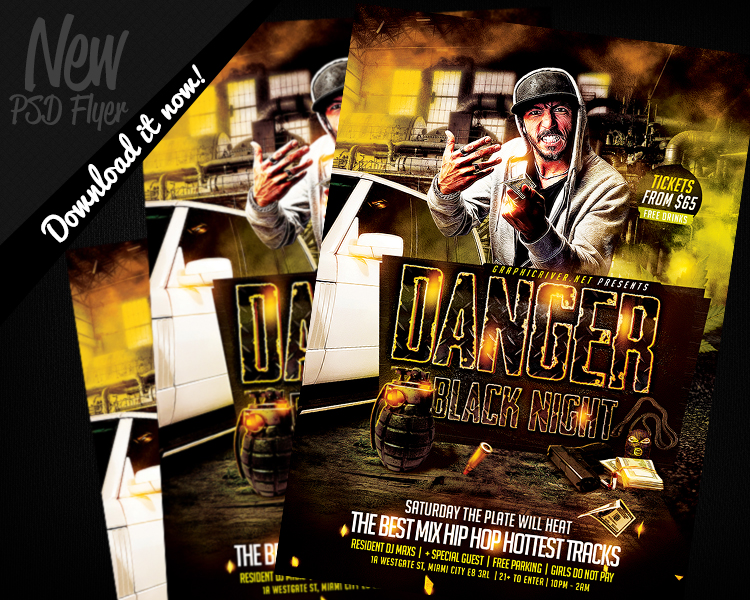 Danger Black Night Hip Hop | Flyer Template Psd By Remakned On