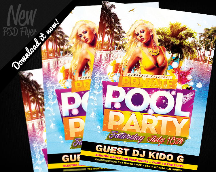 Private Pool Party Flyer Template PSD By REMAKNED ...