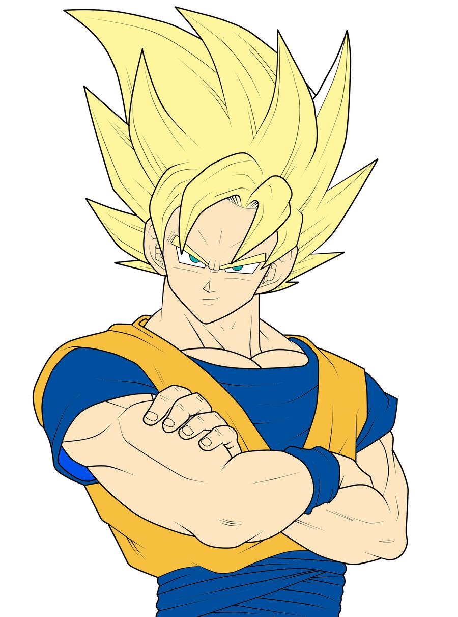 Goku Ssj2 Coloured by VegetaXPrinceX on DeviantArt