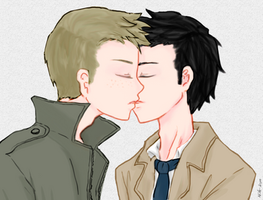 Day 5: Kissing (Destiel version) by Nile-kun