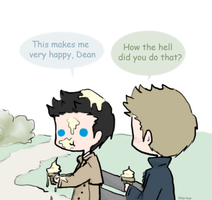 Day 13: Eating icecream (Destiel) by Nile-kun