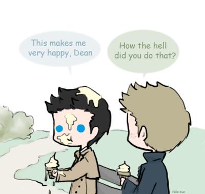 Day 13: Eating icecream (Destiel) by Nile-kun