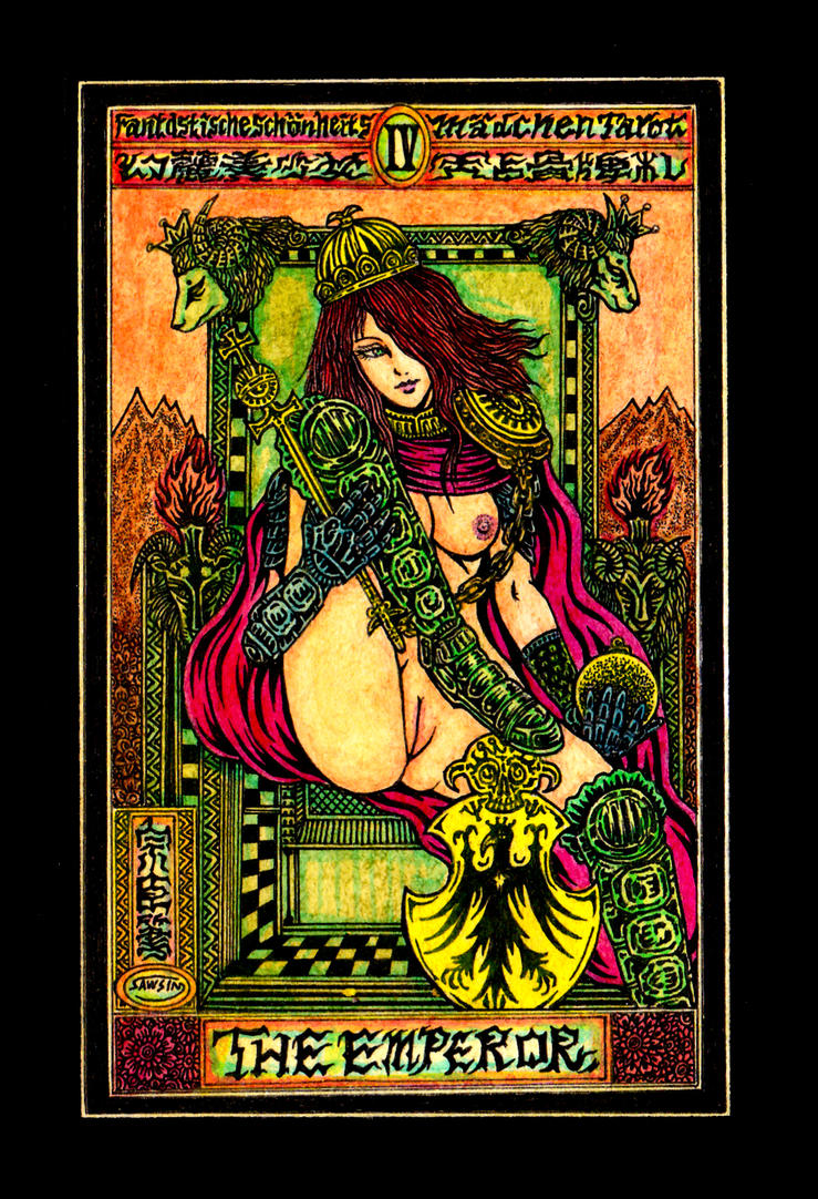 Aesthetic Beautiful Girls Tarot 4 The Emperor by sawsin