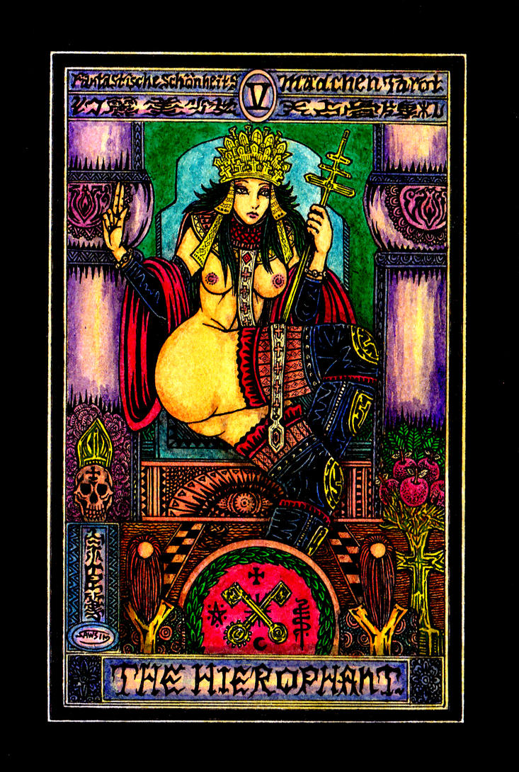 Aesthetic Beautiful Girls Tarot 5 The Hierophant by sawsin