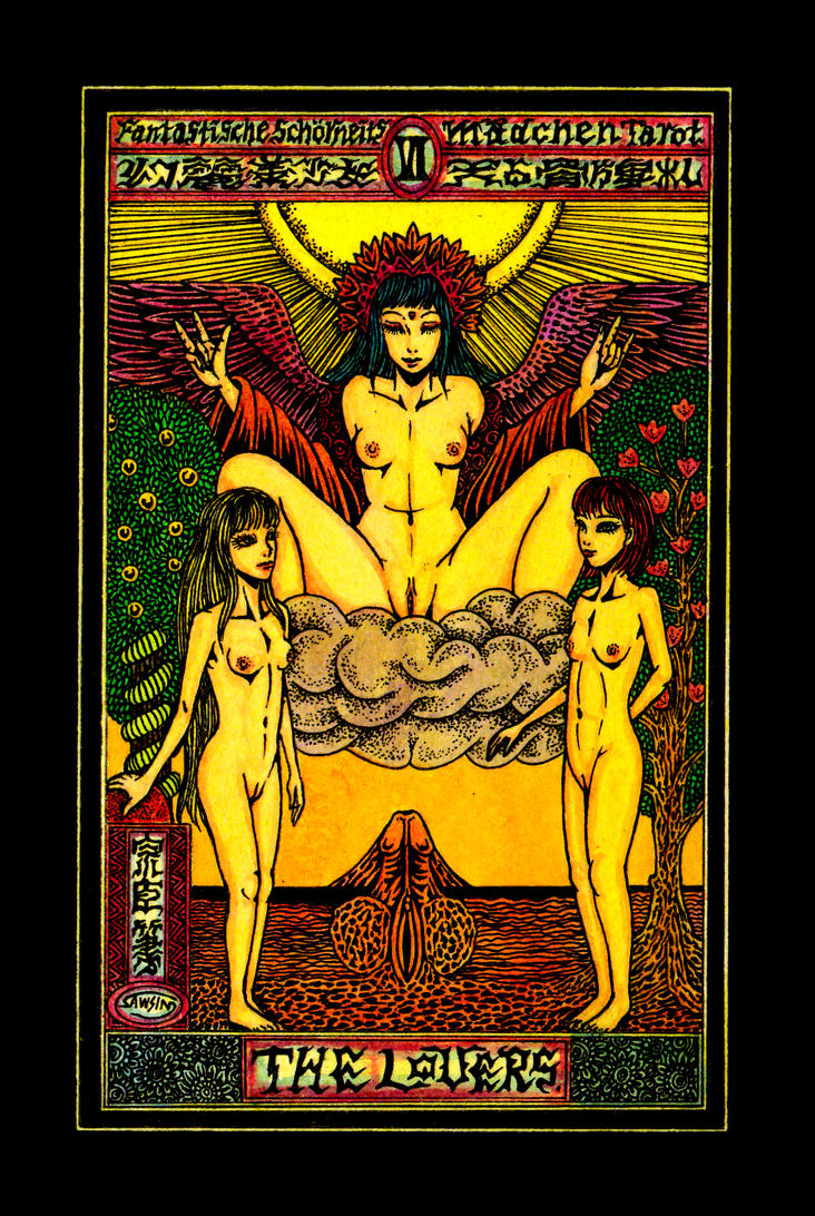 Aesthetic Beautiful Girls Tarot 6 The Lovers by sawsin