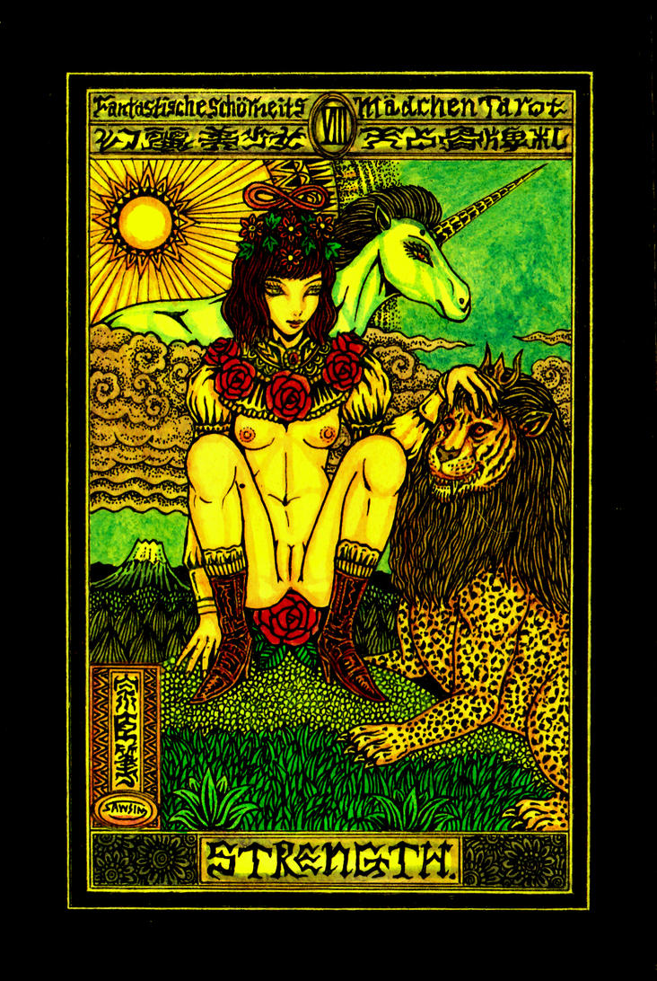 Aesthetic Beautiful Girls Tarot 8 Strength by sawsin
