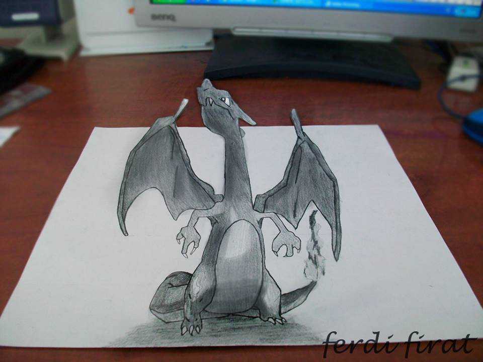 3d drawing art charizard pokemon by vexilloid