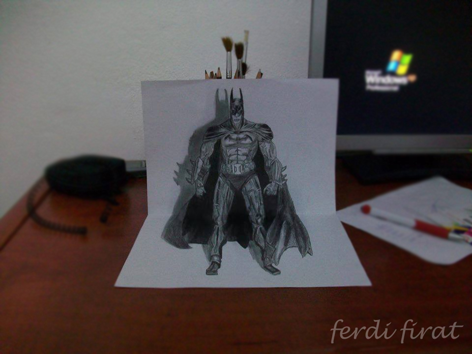 how to draw a 3d batman