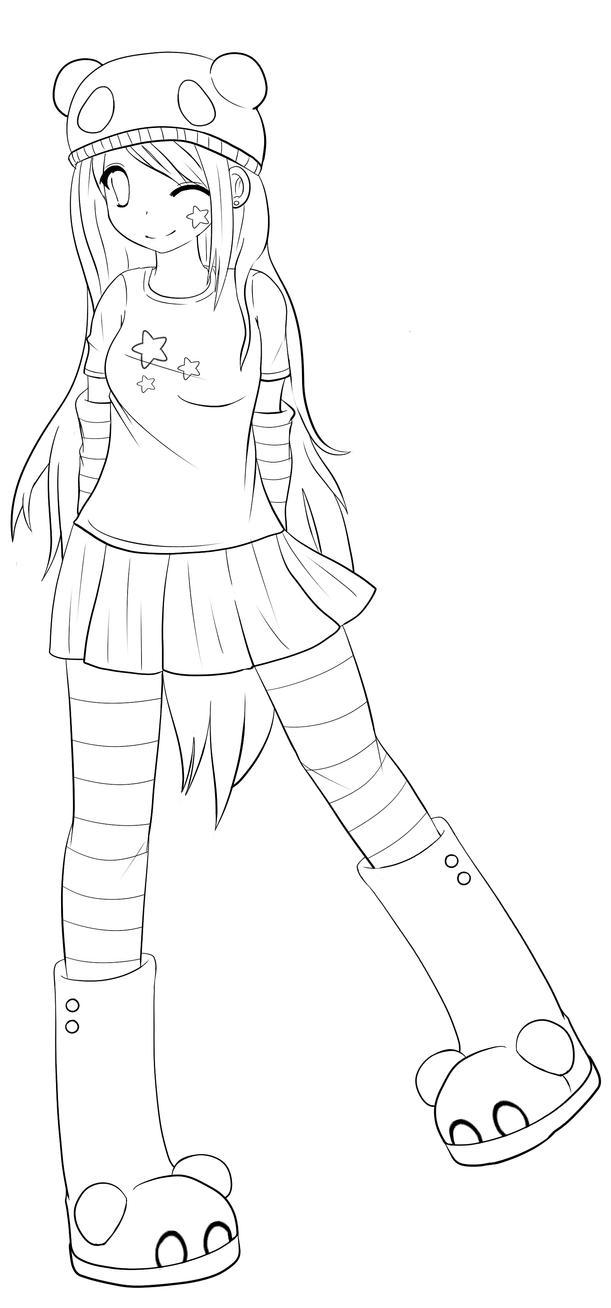 Deviantart coloring clubs - Color Me Panda Girl By Lisey Chu