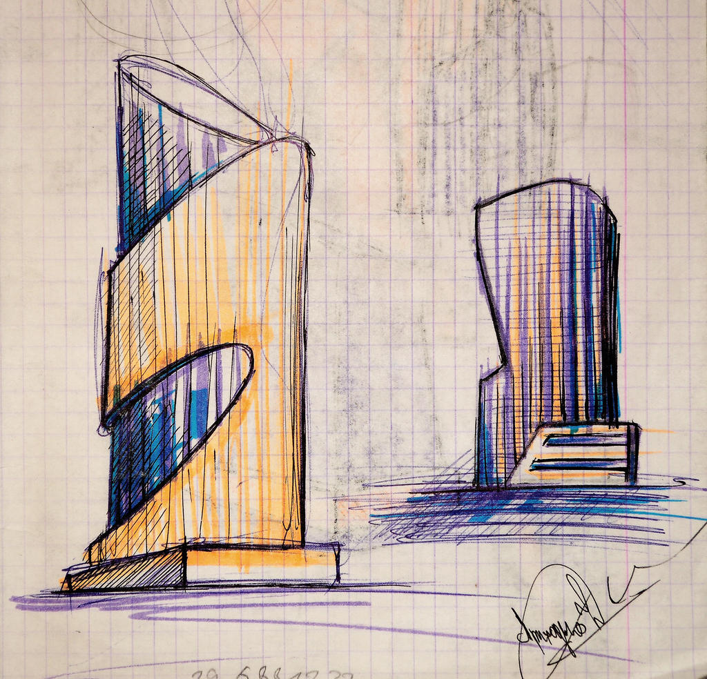 sketch of the architectural form of the building03 by Demiteli