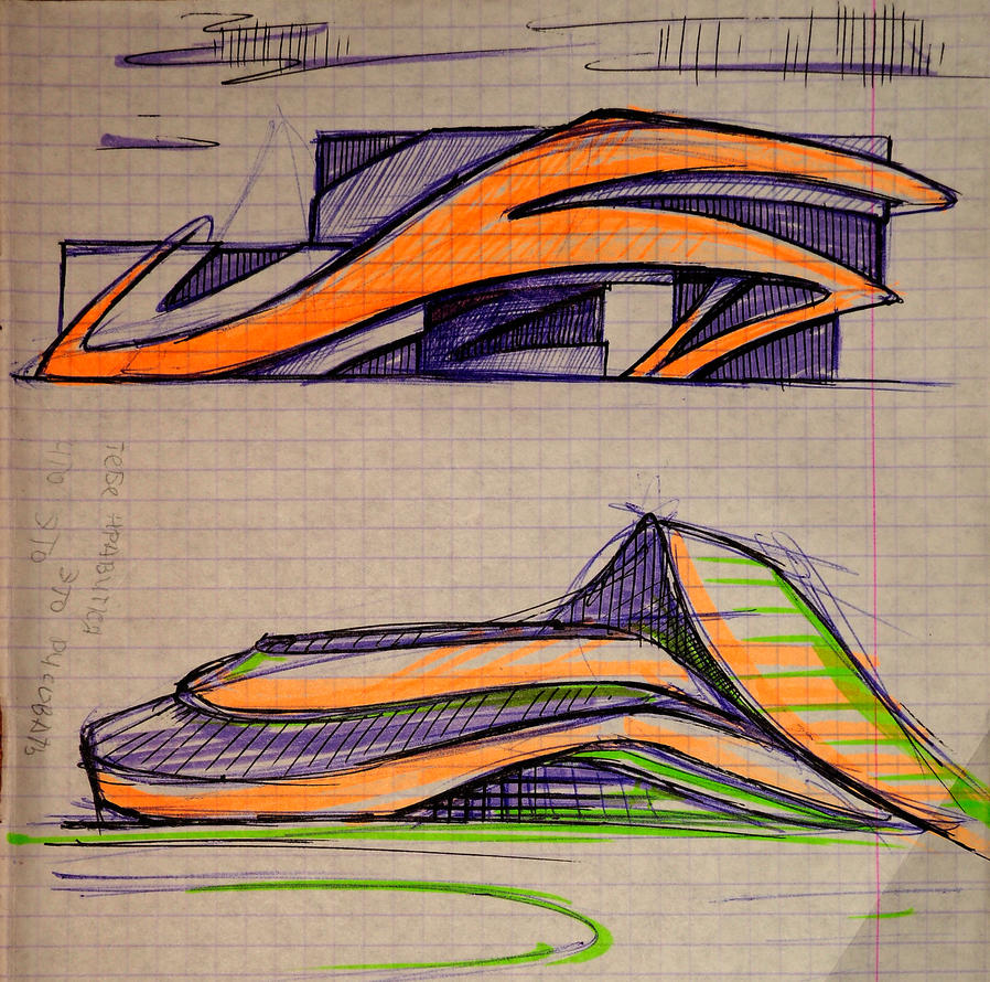 Form In Art And Design : Sketch of the architectural form building by