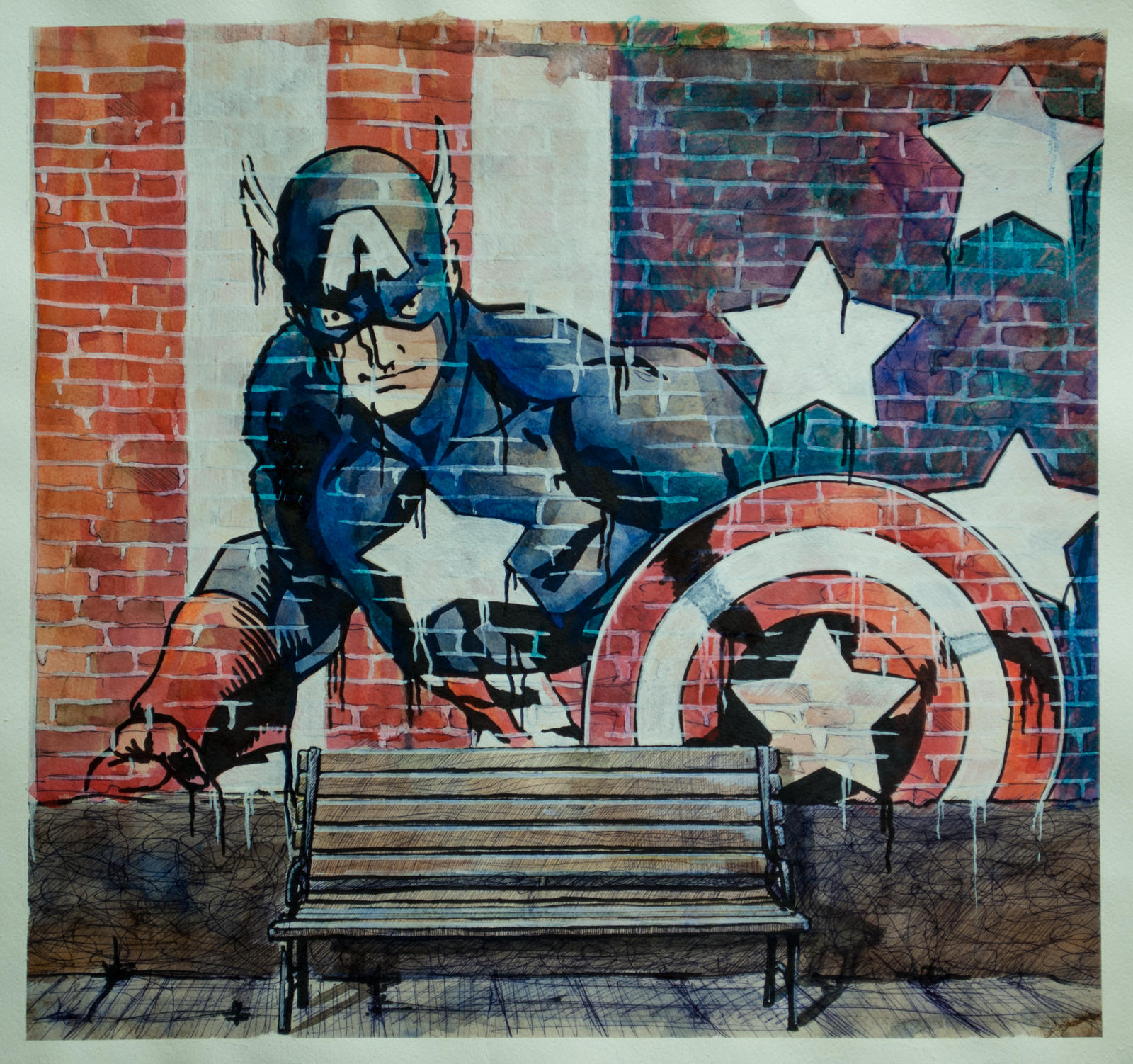 Captain america painting on the wall by demiteli on for America s finest paint