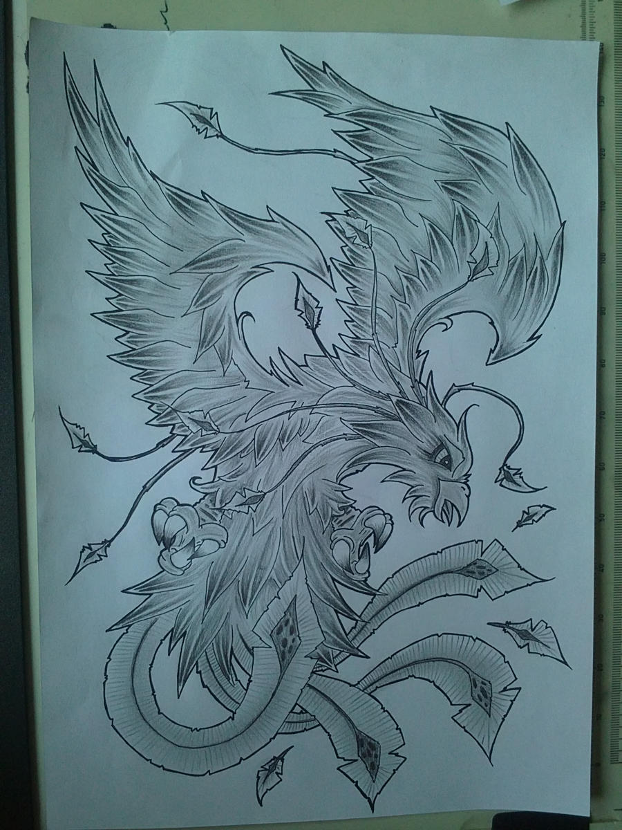 phoenix tattoo design shaded