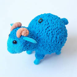 Christmas toy  Blue Ram sculpture  symbol 2015 by koshka741