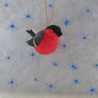 Christmas Ornament figurine bullfinch bird by koshka741