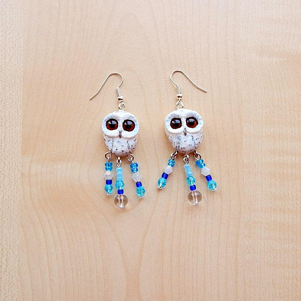 Owl earrings of polymer clay by koshka741