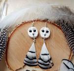 White barn owl earrings