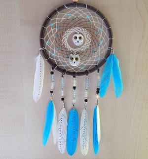 Dream catcher with white owls