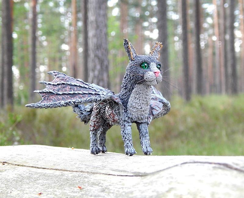 Cat Dragon figurine by koshka741