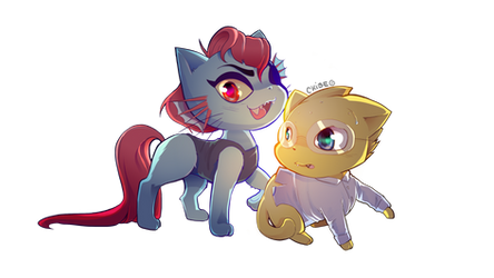 Undyne and Alphys  Cat version by CKibe