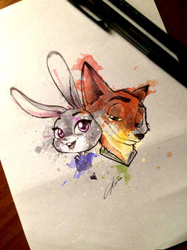 Judy and Nick - Zootopia colored version