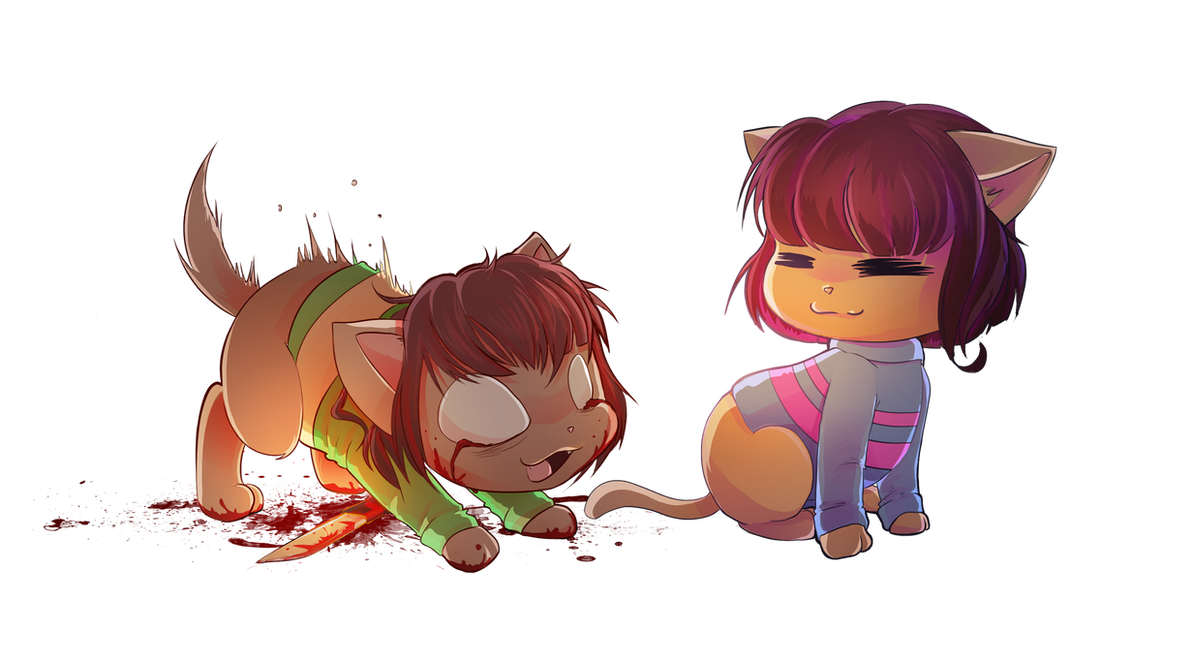 chara and frisk cat version by ckibe on deviantart