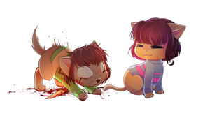 Chara and Frisk Cat version