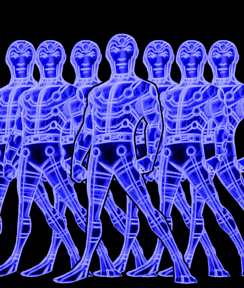 multiple man blue by AlanSchell