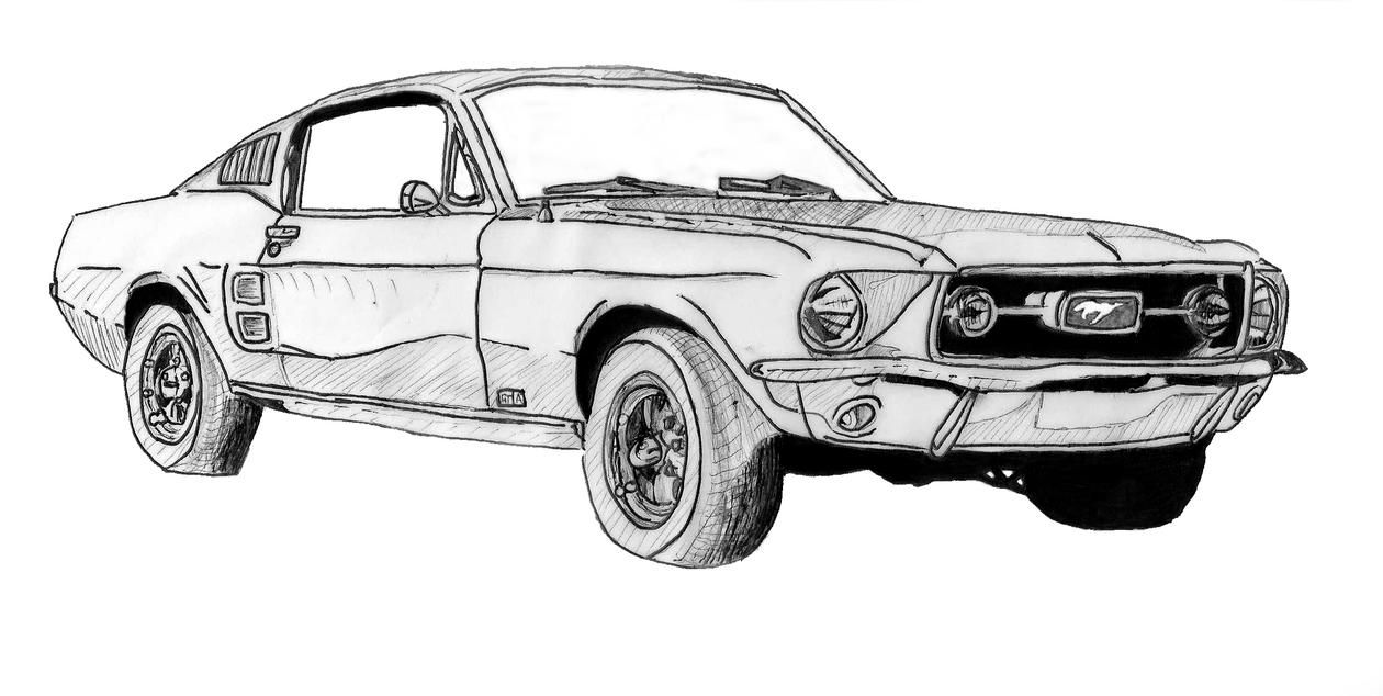Mustang GT sketch by GassyGiant