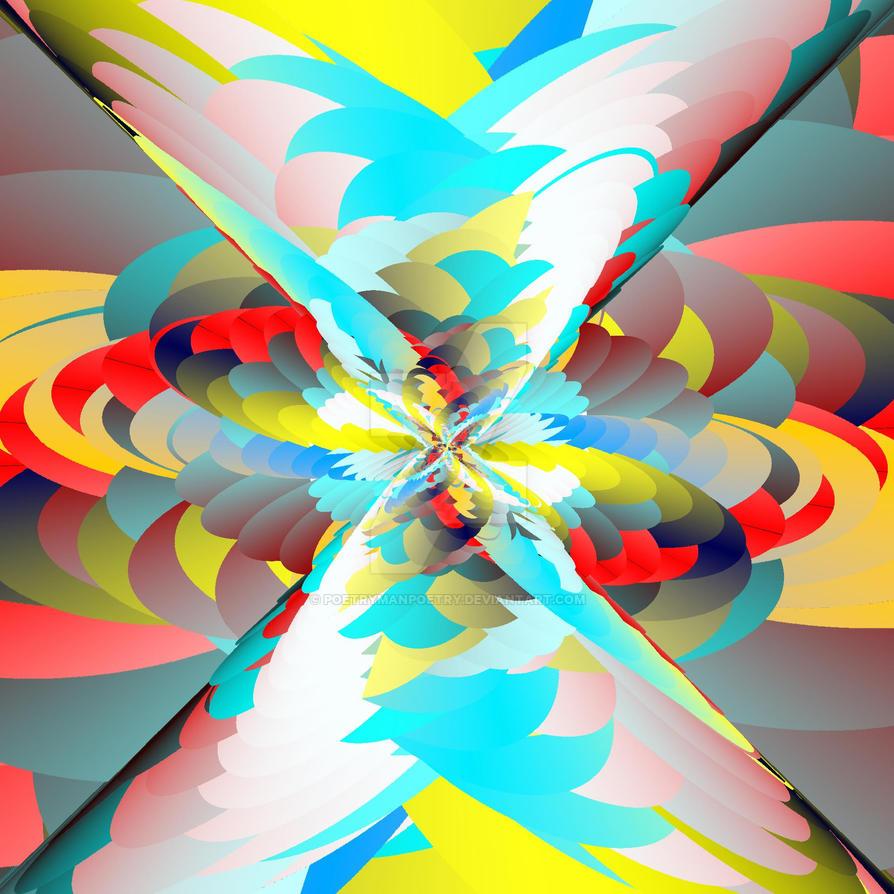 Polychromatic Tornado vs Rainbow Volcano by poetrymanpoetry