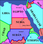 Nubia between Egypt and Sudan