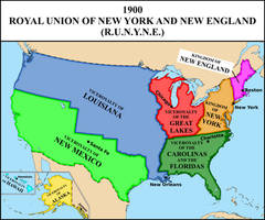 Map of the Royal Union (monarchical USA) in 1900 by matritum