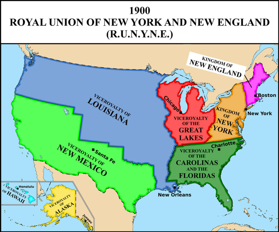 Map of the Royal Union (monarchical USA) in 1900 by matritum on