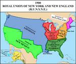 Map of the Royal Union (monarchical USA) in 1900