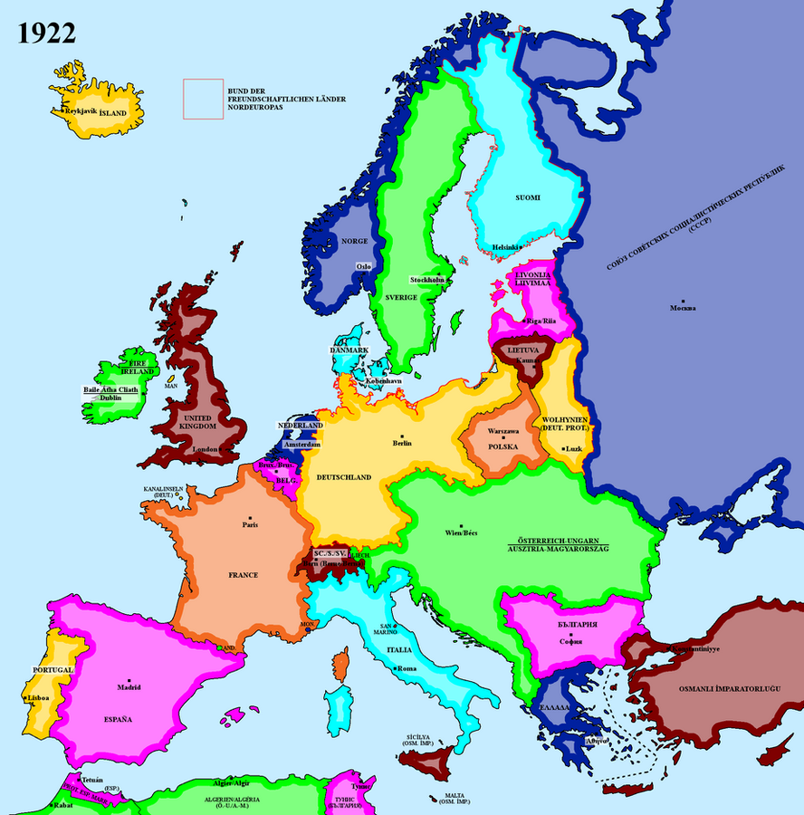 Map of an alternate interwar Europe (1922) by matritum