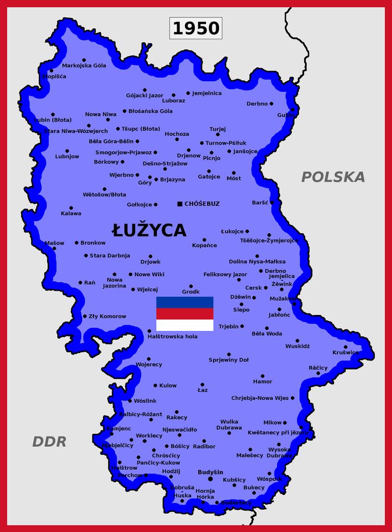 Map of Socialist Republic of Lusatia (1950) by matritum