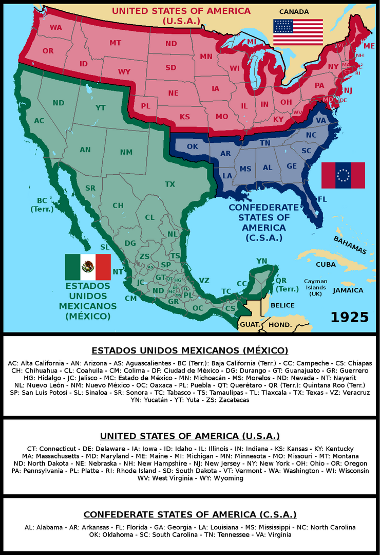 Greater Mexico, USA and CSA (1925) by matritum on DeviantArt