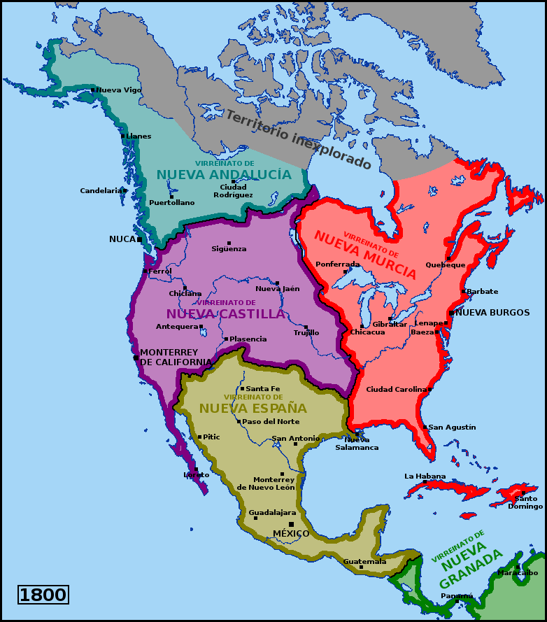 Map Of America In 1800.Spanish North America In 1800 By Matritum On Deviantart