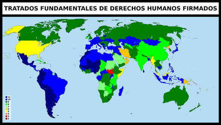 Human rights treaties signed by each country by matritum