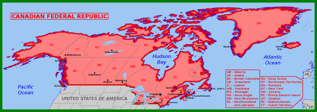 Map Of Canada Greenland And Iceland.Greater Canada As Federal Republic By Matritum On Deviantart