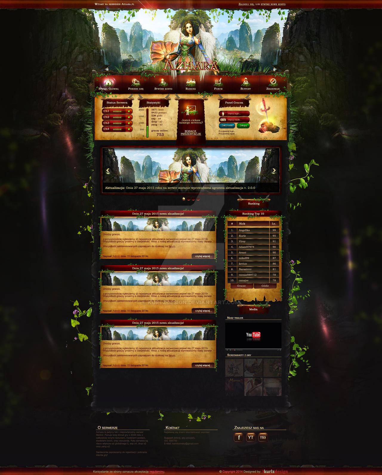 Azhara Metin2 Webdesign template fantasy game mmo by KurlzDesign on ...