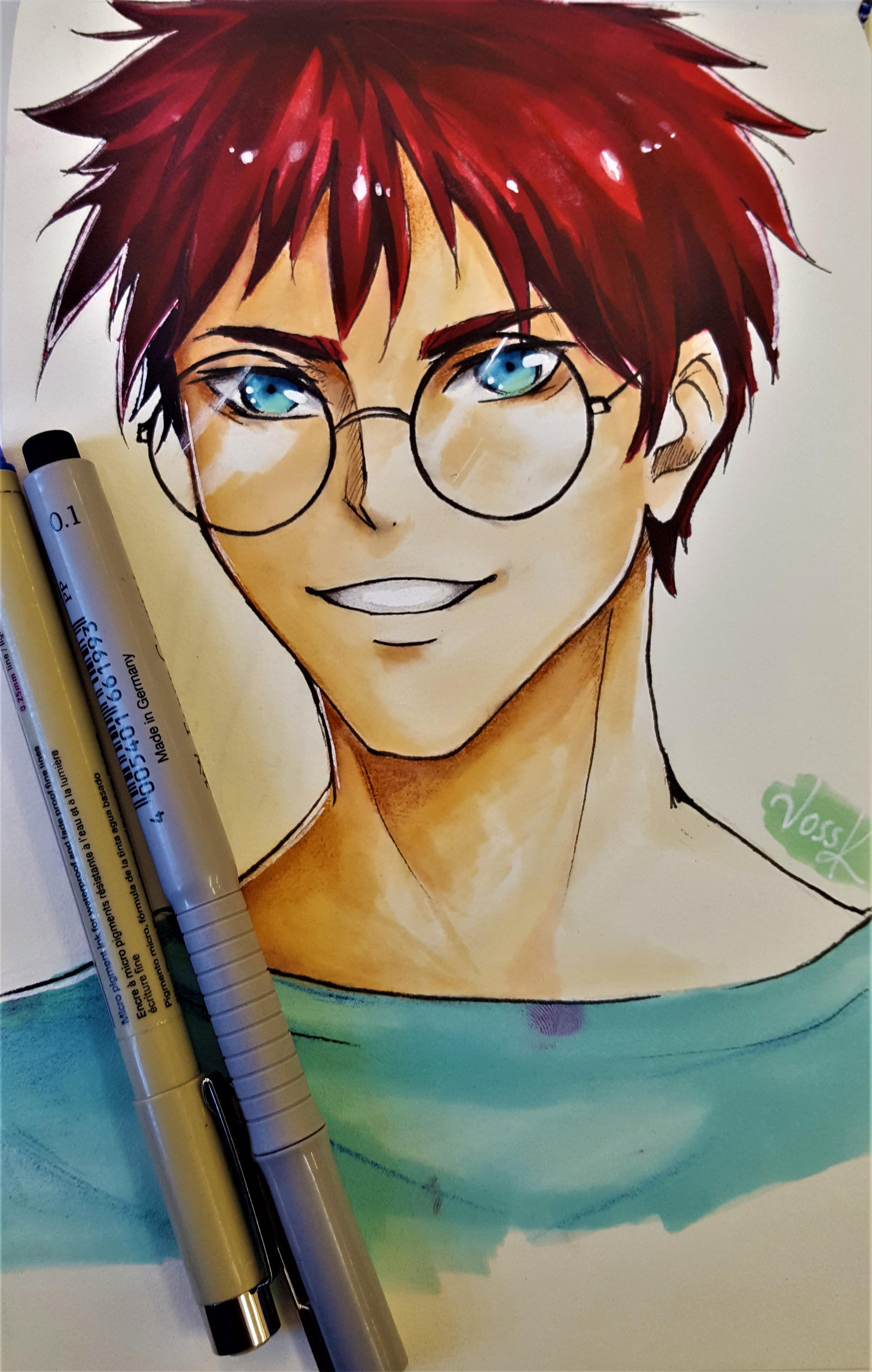 Anime Male Character With Glasses By Voss K Art On Deviantart