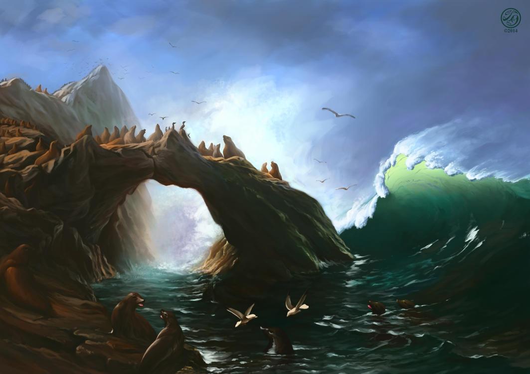 Albert Bierstadt - Farallon Islands Study by CatherineSteuer