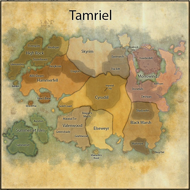 Elder Scrolls Online World Map Overview by NathN on DeviantArt on