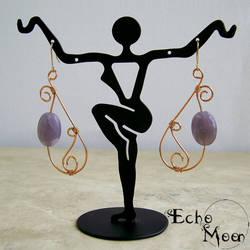 Copper Lepidolite Earrings by EchoMoonJewelry