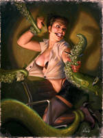Tentacle Monster Attacks Office Secretary by 4thcoming