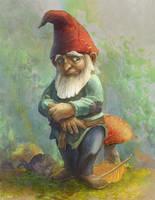 Sad gnome commission by TylerEdlinArt