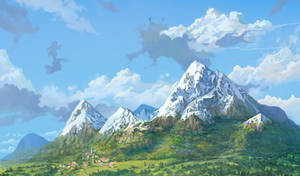 a few mountains ghibli style